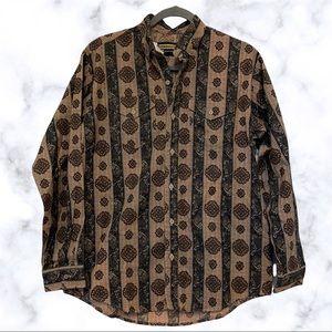 Panhandle slim XL western button up shirt men's brown paisley stripes cowboy